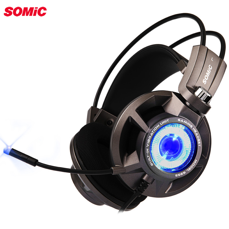 Somic G954 Vibration Gaming Headset 7 1 Virtual Surround USB Game Earphone Headphones with Mic for