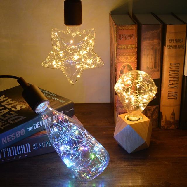 luz Vintage decoración 3D LED lámpara Edison bombilla de luz Vintage decoración E27 110 V 220 V LED lámpara de filamento de alambre de cobre Alambre de cadena de reemplazar bombilla incandescente