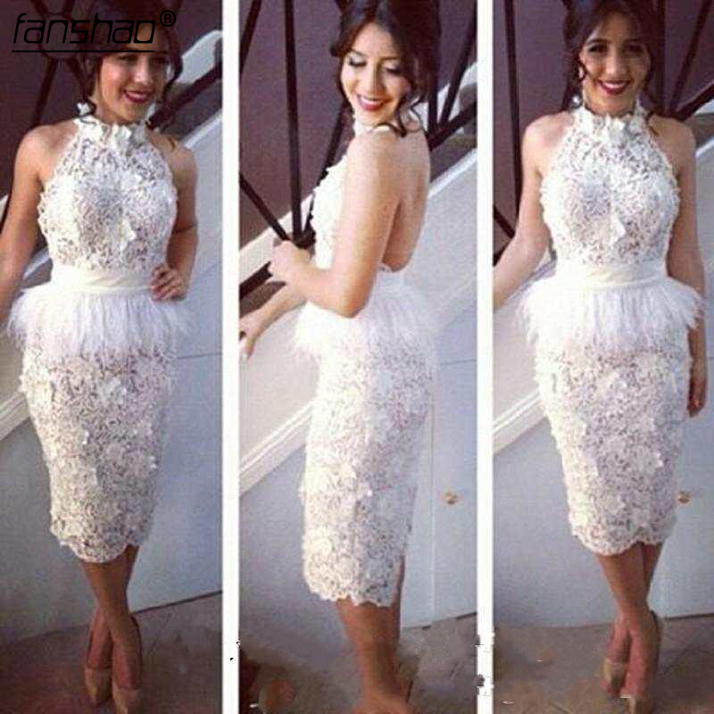 White Knee Length   Prom     Dress   Chic Lace Feather Halter Peplum Women Backless Evening   Prom   Party Gowns sexy Feather Formal   Dresses