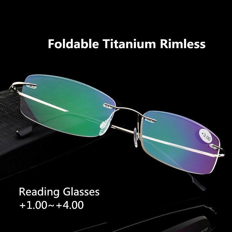 Superelastic FoldableTitanium aleación sin montura gafas de lectura Presbyopic gafas para hombre mujer + 1,0 + 1,5 + 2,0 + 2,5 + 3,0 + 3,5 + 4