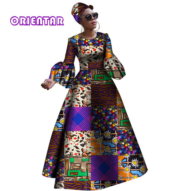 2019 African Dresses For Women New Dashiki Rche Dress Africa Long Sleeves Party  Plus Size WY2868 19fb5ec17907