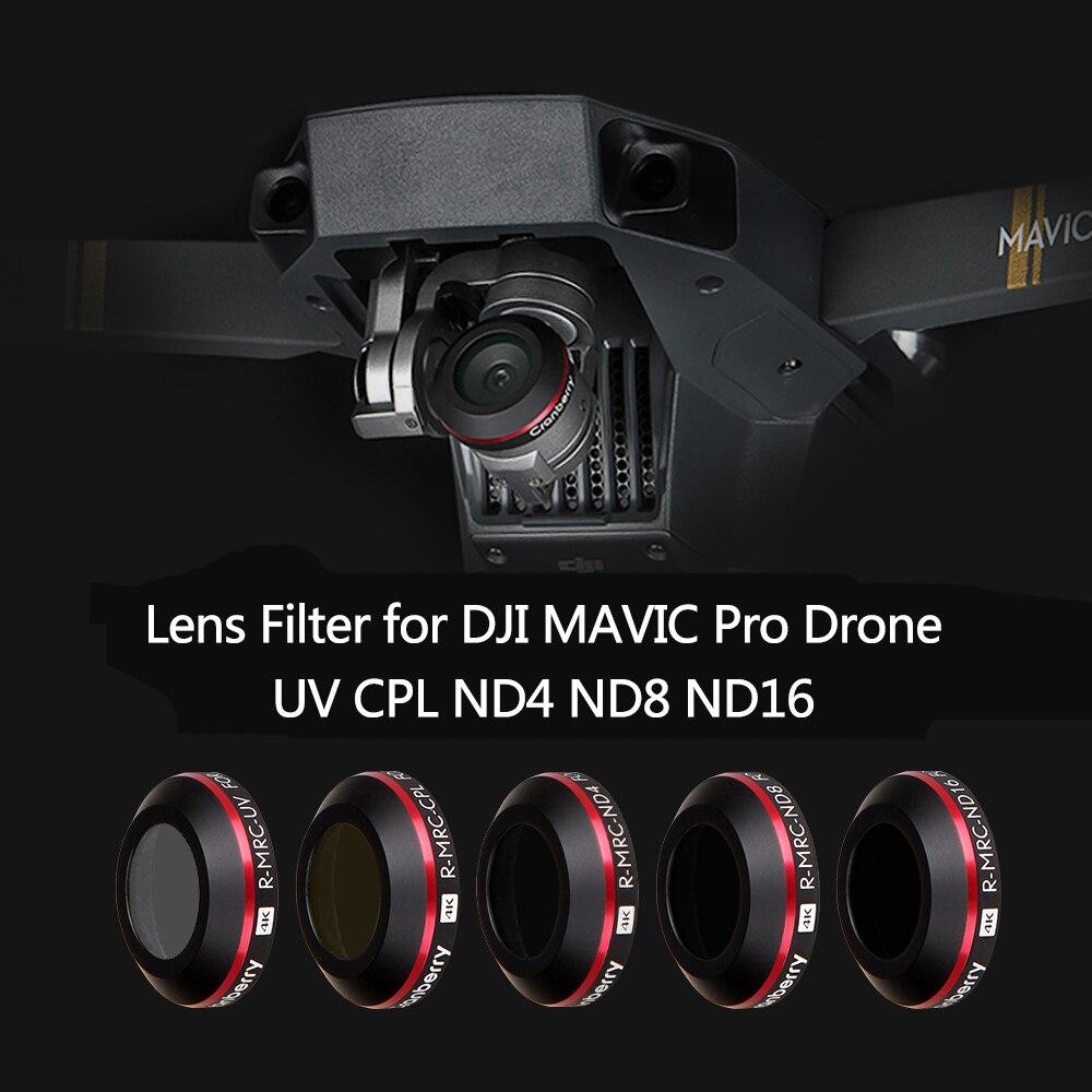 5 pièces Drone Caméra lentille filtre paquet CPL ND4 ND8 ND16 Lentille UV Filtres ultra mince filtre polarisant pour DJI Mavic Pro Platinum