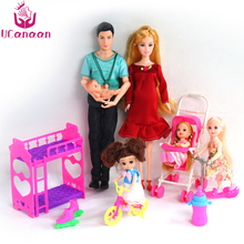 UCanaan 6 People Family Dolls Suits Mom Dad Son Baby Kelly Carriage Girls Toys Doll Fashion Pregnant Doll Kids Toys bjd doll 6pcs happy family kit toy dolls pregnant big belly dolls family suit pregnancy doll playsets toys for girls baby doll