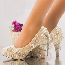 Handcraft Ivory High Heel Platforms Prom Party Shoes Summer Rhinestone Wedding Shoes Bride Pearl Crystal Dress