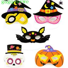 цена 10pcs 2019 Halloween Cartoon Pattern Paper Mask Child Kindergarten Masquerade Party Mystery Mask Eye Mask,20x18cm