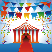 Laeacco Cartoon Tent Flag Streamer Circus Children Photography Backgrounds Customized Photographic Backdrops For Photo Studio