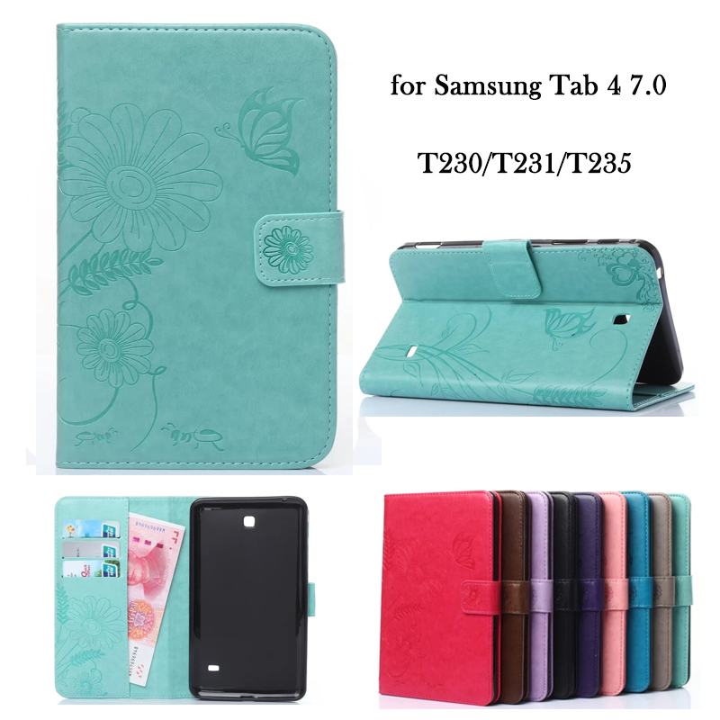 for Samsung Tab 4 7.0 T230 T231 T235 PU Leather Tablets Case Cover Flower Wallet Flip Stand TPU Tablet Sleeve Auto sleep