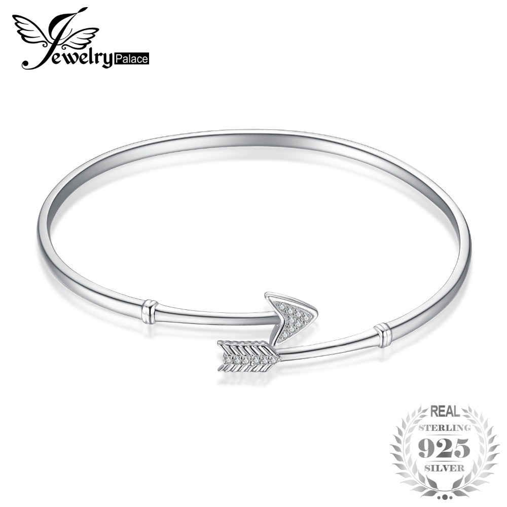 JewelryPalace 925 Sterling Silver Cupid's Arrow Cubic Zirconia Adjustable Cuff Bracelet New Fashion Silver Jewelry For Women все цены