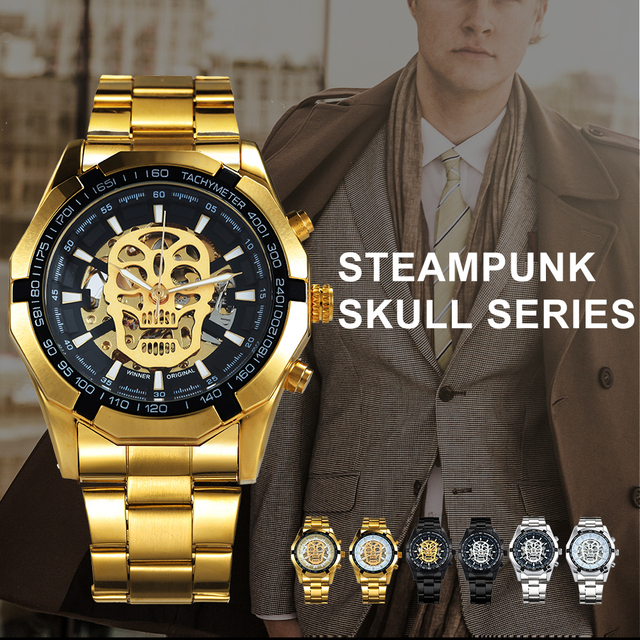 WINNER Classic Golden Skeleton Mechanical Watch Men Stainless Steel Strap Watches Top Brand Luxury Vip Drop Shipping Wholesale 1