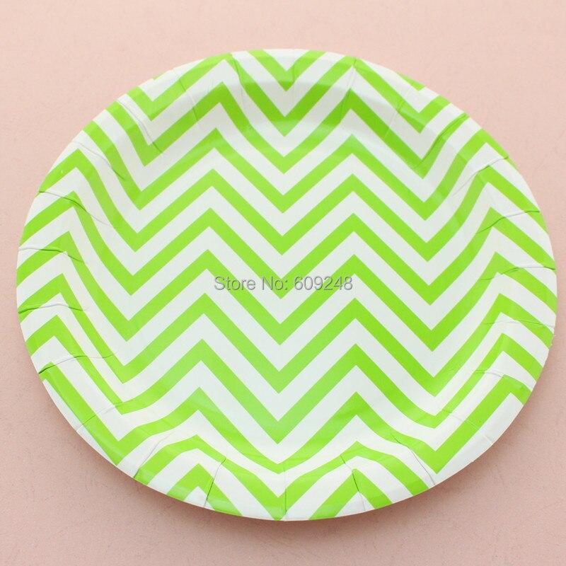 24pcs 9 round green chevron decorative paper plateswedding disposable party dessert picnic dinner - Decorative Paper Plates