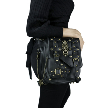 New Launched Black Steampunk Bag Vintage Rivet Retro Thigh Waist Bags Men Women Unisex Crossbody Phone Shoulder Messenger Bag