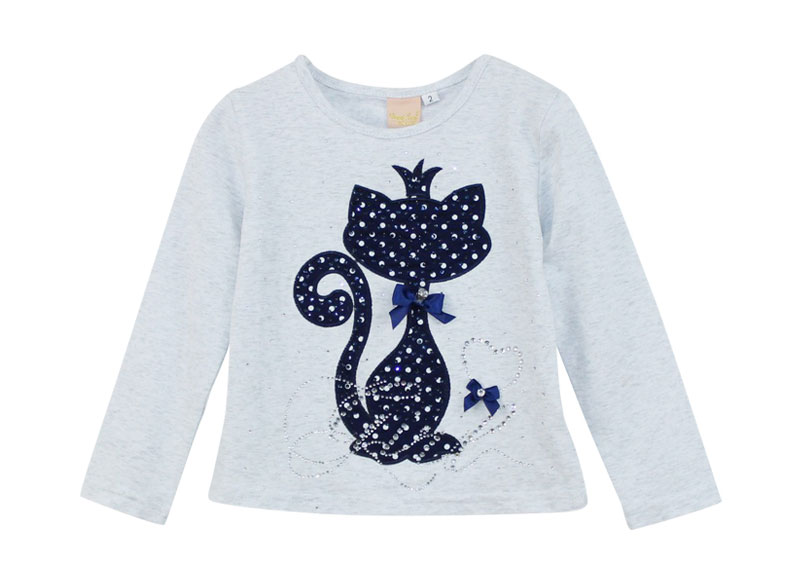 HTB1975uPVXXXXaBXpXXq6xXFXXXI - Girl's Stylish Cute Branded Print Rhinestone Cat with Bow, Long Sleeve T-Shirt