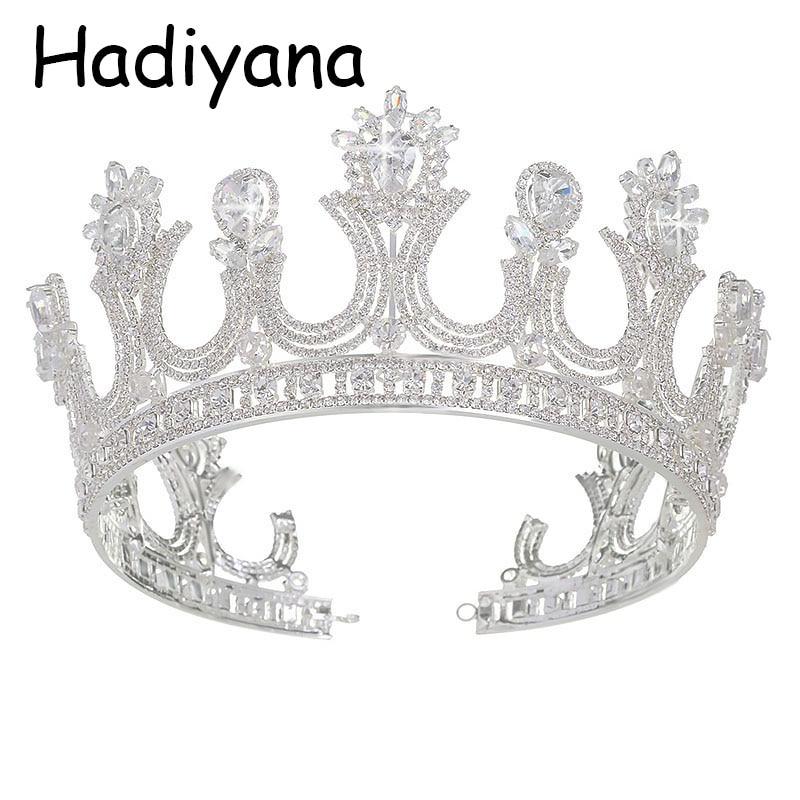 Hadiyana Wholesale Queen Crown Tiara Crowns With Zincon Fashion Retro Bridal Hair Jewelry Banquet Party Accessories