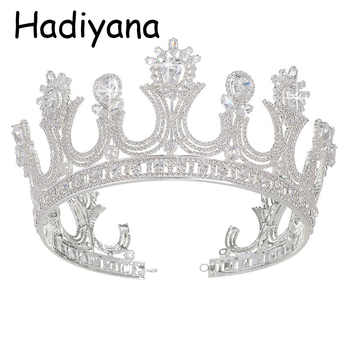 Hadiyana Wholesale Queen Crown Tiara Crowns With Zincon Fashion Retro Bridal Hair Jewelry Banquet Party Accessories Crown HG6016 - DISCOUNT ITEM  40% OFF All Category