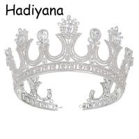 Hadiyana Wholesale Queen Crown Tiara Crowns With Zincon Fashion Retro Bridal Hair Jewelry Banquet Party Accessories Crown HG6016