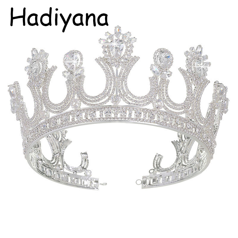 Hadiyana zincon 패션 레트로 신부 헤어 쥬얼리 연회 파티 액세서리 크라운 hg6016와 도매 여왕 크라운 티아라 크라운-에서헤어 주얼리부터 쥬얼리 및 액세서리 의  그룹 1