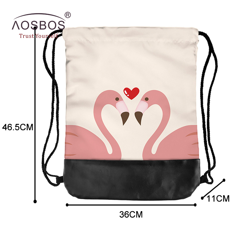 07cd4b7087 Aosbos 2018 New Flamingo Drawstring Backpack Sports Bag for Women Fitness  Outdoor Training Gym Bag Print Drawstring Beach Bags-in Gym Bags from Sports  ...
