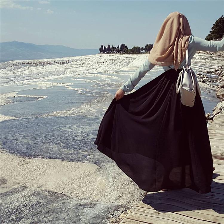 Fashion Women's Chiffon Pleated Skirt Muslim Elegant Modest Ankle-Length Long Ramadan Party Worship Service Islamic Clothing