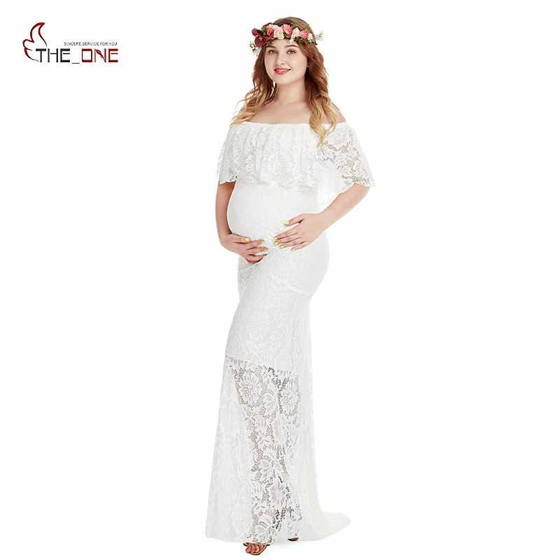 6526c9eefd6ac MUABABY Maternity Photography Props Pregnant Robe Off Shoulder Ruffles Dress  Lace Maxi Gown Women Long Dress