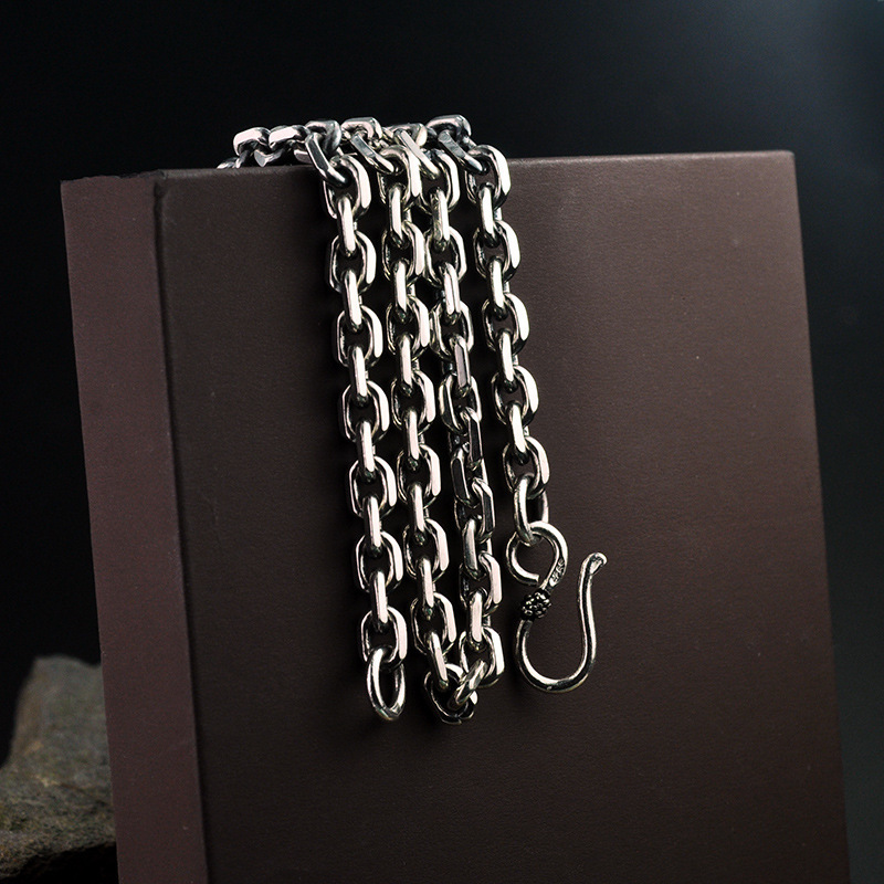 Image 3 - Real Pure 925 Sterling Silver Necklaces For Men And Women Personality Rough Design Vintage Chockers Link Chain Punk Jewellery-in Chain Necklaces from Jewelry & Accessories