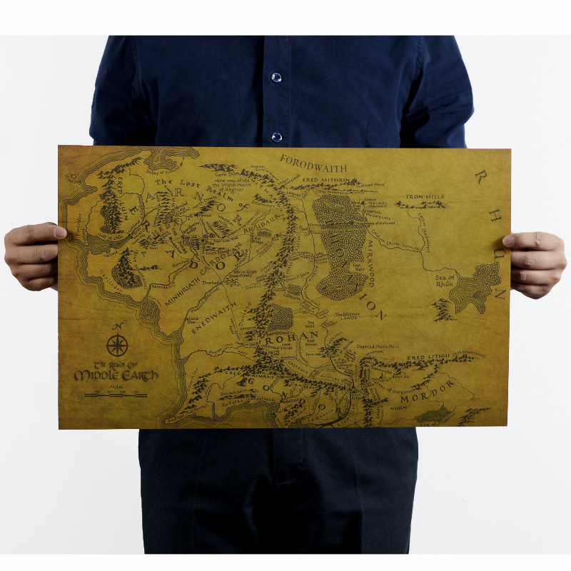 The Lord of the Rings MIDDLE EARTH MAP Vintage Kraft Paper Movie Poster Home Decoration Garage Wall Decor Art  Retro Prints inside log homes the art and spirit of home decor