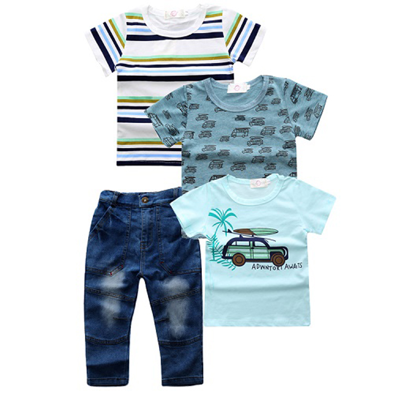 Summer New Kids Boys Clothing Sets 100% Cotton O-Neck Short Sleeve T-Shirt Denim Pants 4 Pcs sets Fashion Child Clothes Suits