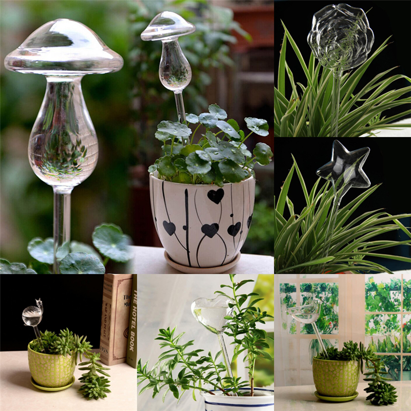Plant Watering Device 6 Shapes House Plants Flowers Water Feeder Automatic Self Watering Devices Clear Glass Water Feeder Bird