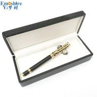 Emoshire moda nowy rok prezent dla tata mąż złoty Hollow długopis na prezent zestaw z drewnianym pudełku drewna Roller długopis długopis p634 w Długopisy kulkowe od Artykuły biurowe i szkolne na