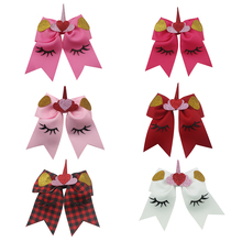 Adogirl 6pcs 6 Valentine Boutique Love Ribbon Unicorn Cheerleading Hair Bows With Clips For Girls Handmade Accessories
