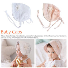 Summer Baby Sun Hat Lace Flower Princess Girls Cap Solid Color Hollow Kids Retro Up Beanie