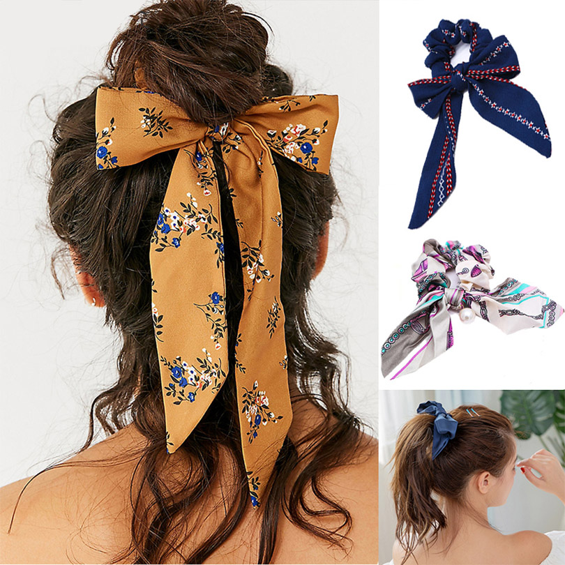 2020 New Bow Streamers Hair Ring Fashion Ribbon Girl Hair Bands Scrunchies Ponytail Hair Bows Girl Holder Rope Hair Accessories