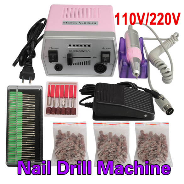 Electric Nail Art Pro Salon Drill Manicure Pedicure Machine Glazing Kit Set nail art drill professional electric machine manicure pedicure pen tool set kit 30pcs nail art drill bit 300pcs sanding bands