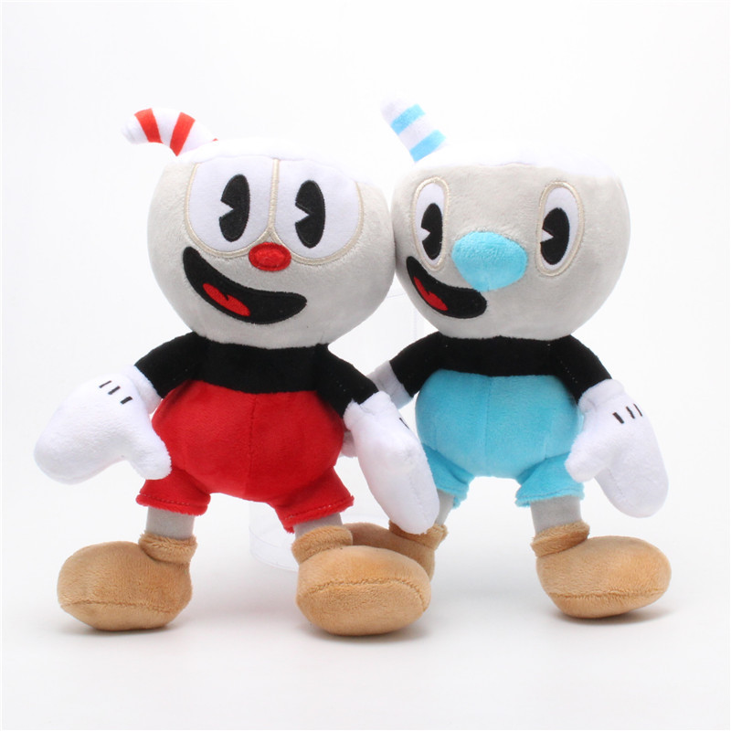 2pcs 25cm Cute Cuphead Game Toy Mugman Cuphead Stuffed Animals Plush Doll Kids Girls Christmas Gift Toy