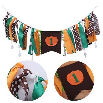 Banderines de arpillera de calabaza para Halloween, banderines para decoración de fiesta, banderines para silla de cumpleaños de bebé, decoraciones para fiestas de cumpleaños