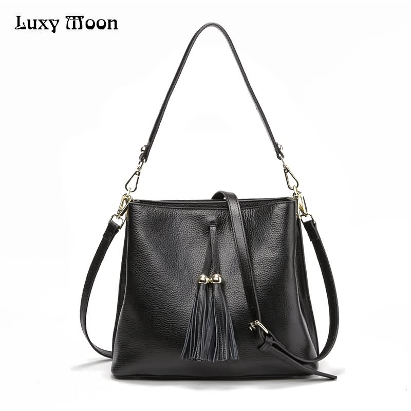 Luxy Moon Women Handbags Designer Handbag Genuine Leather Fashion Tassel Multilayers Larger Casual Tote Shoulder Bags ZD470 luxy moon women bag genuine leather composite bag women s handbag fashion casual cowhide larger tote female shoulder bag zd705