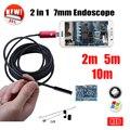 7 MM 2EM1 USB Endoscópio Android Câmera 5 M 10 M Inspeção Cobra Tubo Tubo de Telefone À Prova D' Água PC USB Endoskop endoscópio Mini Câmera