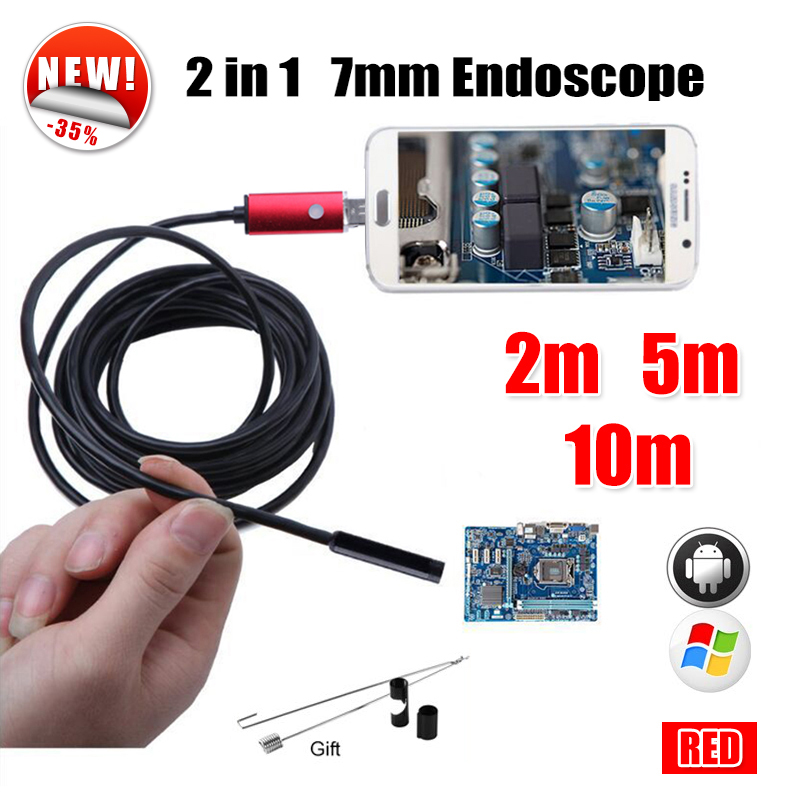 Antscope 7MM 2IN1 USB Endoscope Android Camera 5M 10M Snake Tube Pipe Phone PC USB Endoskop Inspection Borescope Mini Camera