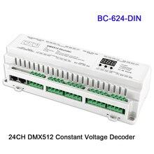BC-624-DIN/BC-632-DIN/BC-640-DIN 24/32/40CH DMX512/8bit/16bit Input DC12V-24V RJ45 Connect LED RGB/RGBW Strip lamp Decoder
