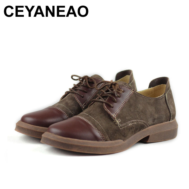 CEYANEAO Women Shoes Round toe Lace up Oxford shoes 100% Genuine Leather Women Flat shoes Female Spring Footwear (5037-1) fevral fashion genuine leather oxford shoes for women round toe lace up casual shoes spring and autumn flat loafers shoes 35 44