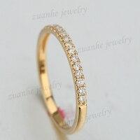 Solid 14K Yellow Gold Engagement Wedding Ring Round Cut Diamond Eternity Anniversary Band