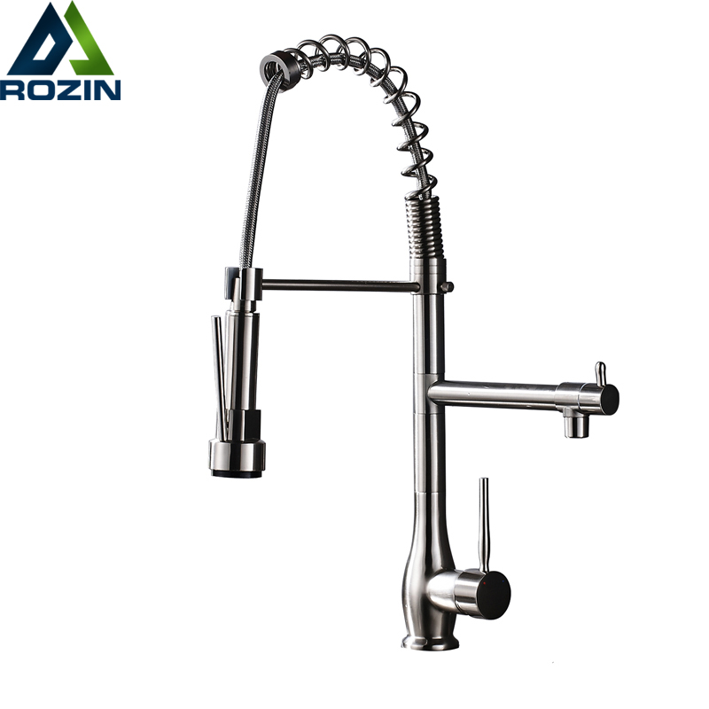 Brushed Nickel Pull Down Double Water Outlet Kitchen Faucet Deck Mounted Hot and Cold Water Mixer Crane Taps Single Lever best quality led color changing bathroom kitchen water taps single lever pull down kitchen mixer faucet brushed nickel finish