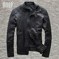 Capas de la chaqueta de los hombres negro de cuero genuino 100% de piel de oveja chaquetas de la motocicleta chaqueta de moto hombre veste cuir homme cappotto lt971