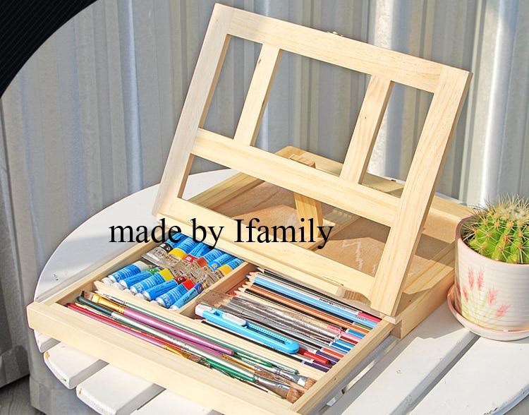 1pc Fillet Desktop Laptop Box Easel Painting Hardware Accessories Multifunctional Painting Suitcase Art Supplies holder storage