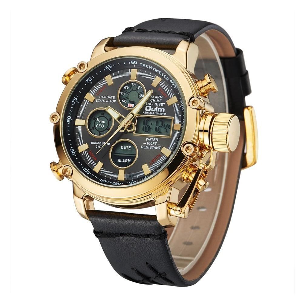 Oulm Brand Luxury Top Watches Men Dual Display Analog Digital Watch Male Genuine Leather Calendar Alarm Quartz Wrist Watch Man