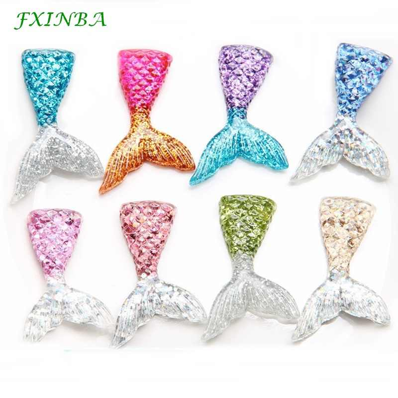 FXINBA 5Pcs/Lot Slime Charms Mermaid Tail For DIY Cake Phone Decoration Sprinkles Toys Mud Polymer Clay Slime Supplies