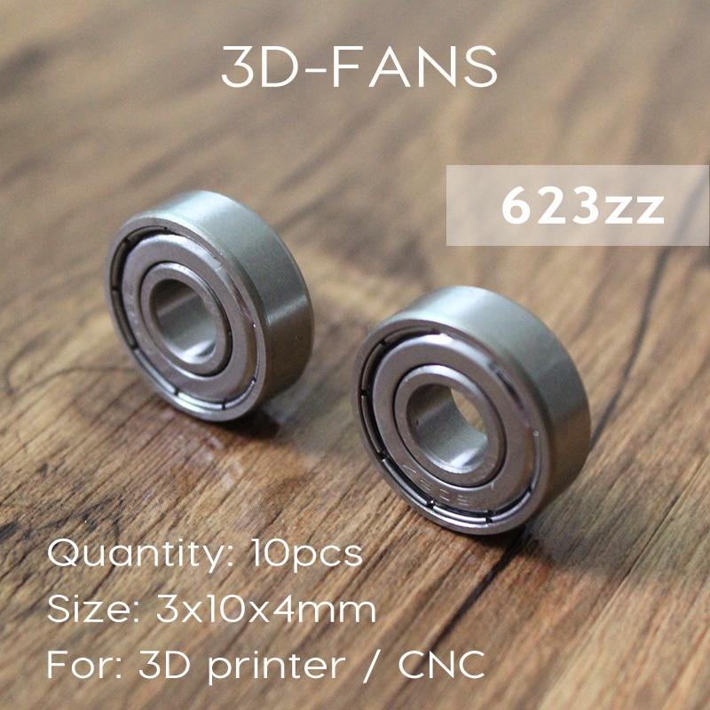 10pcs/lot 623ZZ Bearing 623-ZZ 3x10x4 Miniature Deep Groove Ball Bearing 623 2Z ZZ Bearing 623Z For 3D Printer Free Shipping
