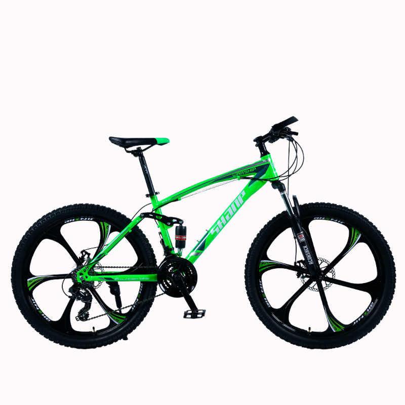 """Shanp Sepeda Gunung Baja Bingkai Penuh Bingkai Suspensi Mekanik Rem Cakram 24 Speed Shimano 26 """"Alloy Wheel"""