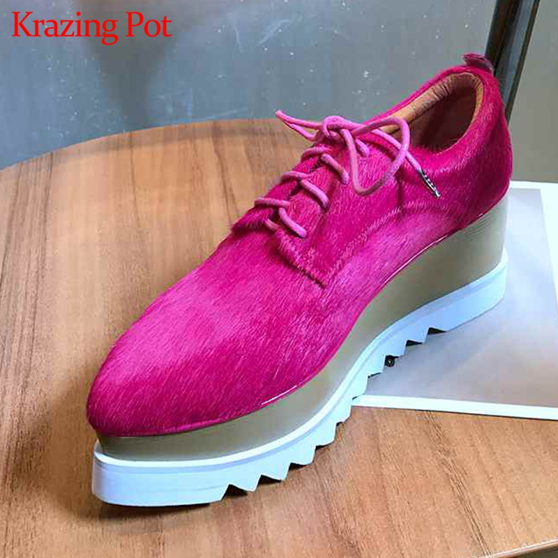 Krazing Pot 2019 Real Fur Horsehair Pointed Toe Platform High Fashion Lace Up Thick Bottom Original Design Gladiator Shoes L18