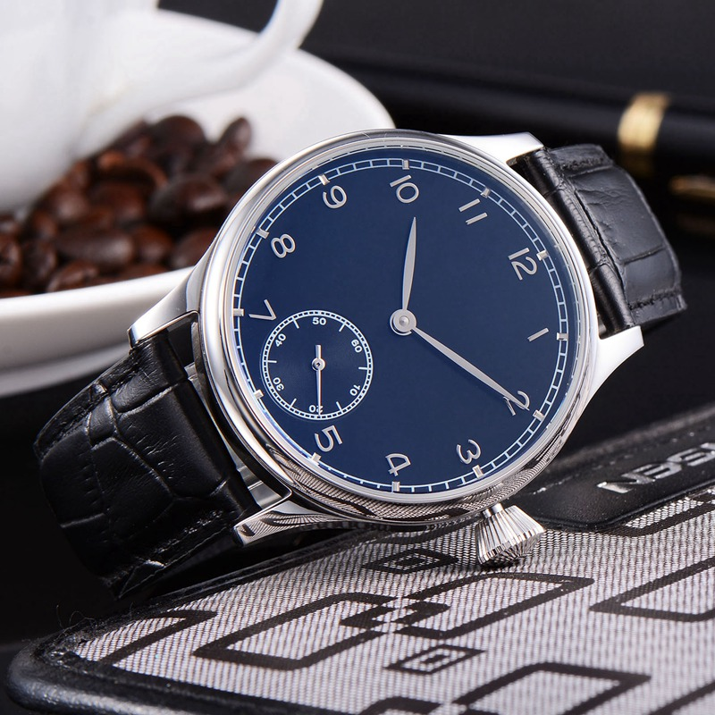 44mm Mens Mechanical Wristwatches 316L SS Case Blue Sterile Dial  6498 Movement 6487 3600 Fashtion Hand Winding Watch Men