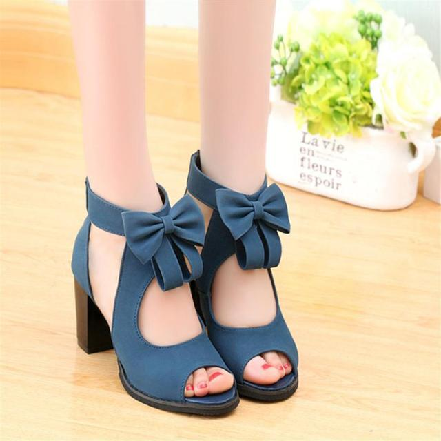 ff99c1ae7 2018 Gladiator High Heels Bow Female Sandals Fashion Summer Party Shoes  Europe and America Popular Shoes